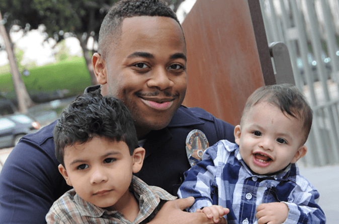 LAPD officer with two very cute kids