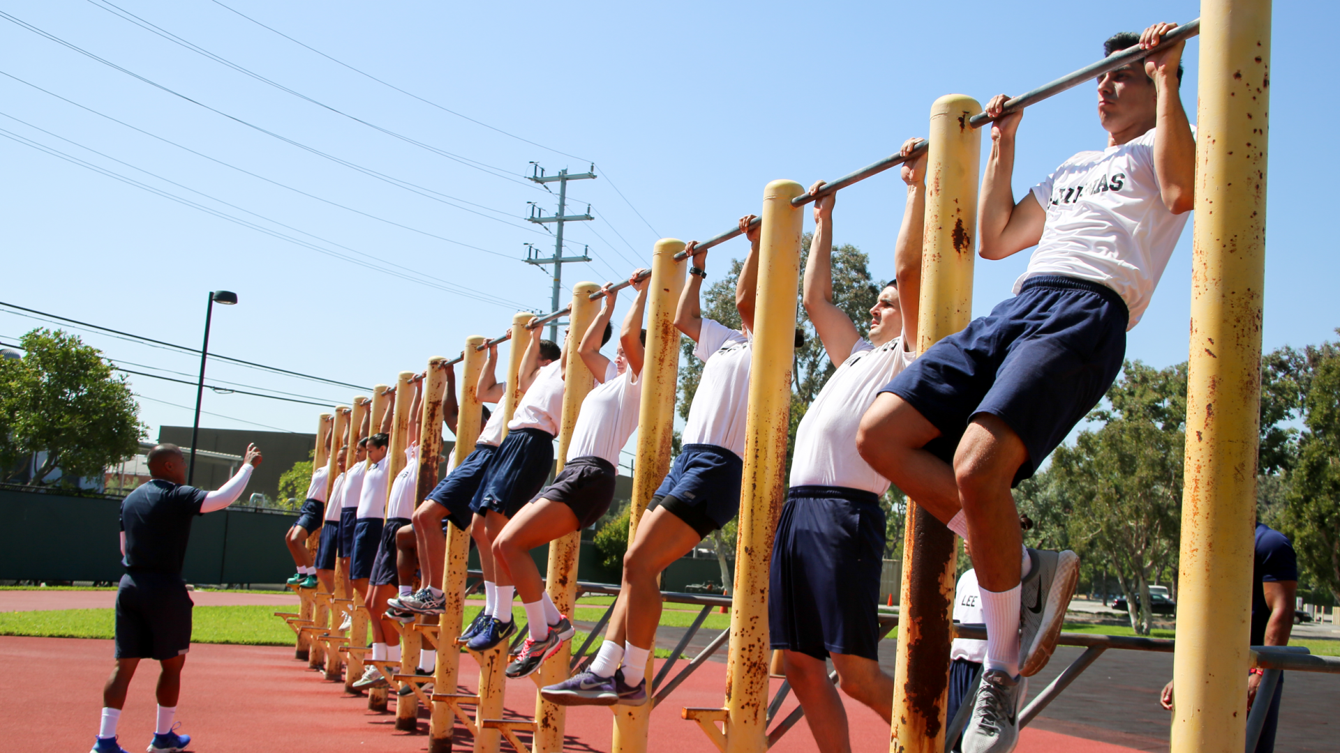 CAP students doing pull ups