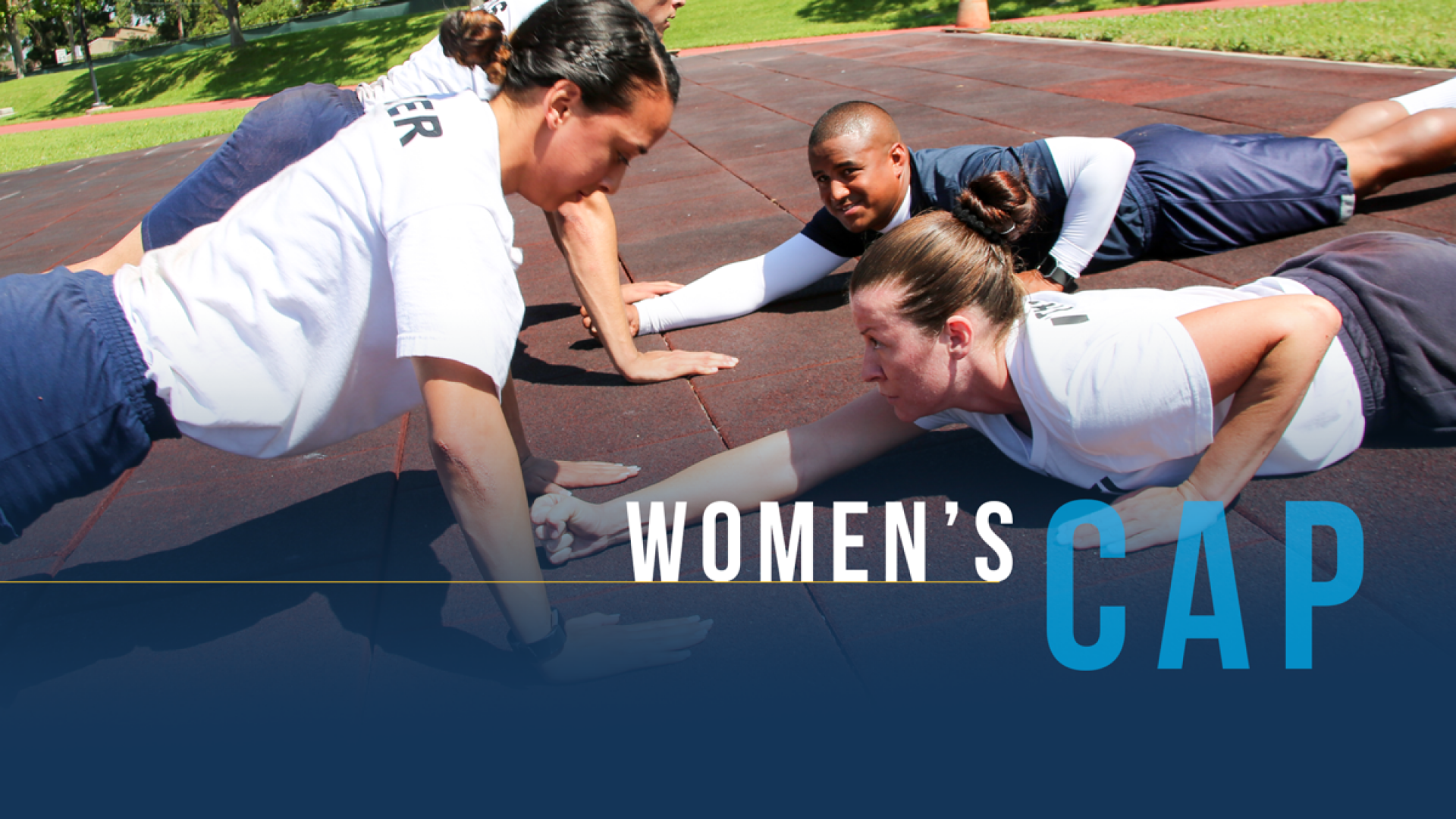 Women performing a perfect push-up in the CAP Program.