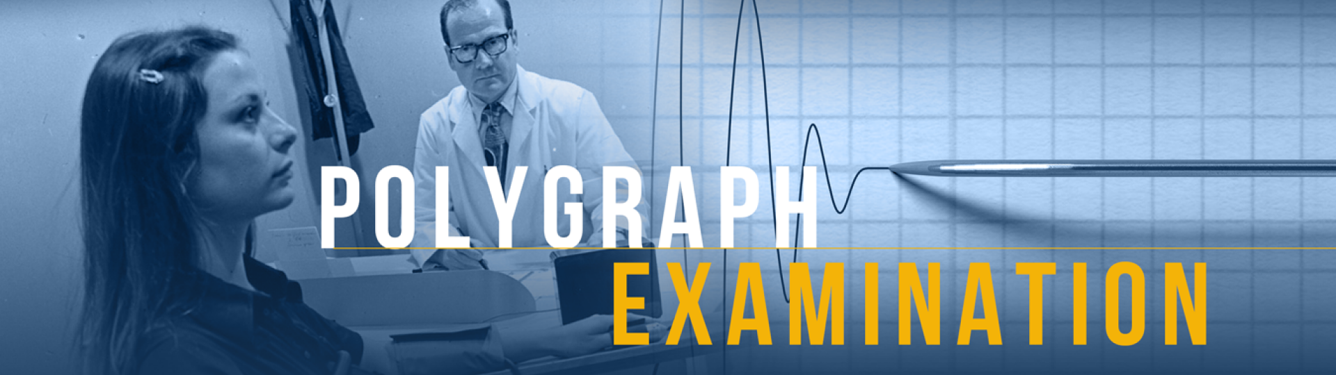 Polygraph examiner administering a poly